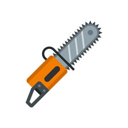 timber cutting: Chainsaw icon in flat style isolated on white background. Saw symbol vector illustration