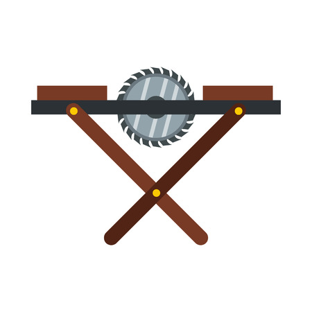 dangerous construction: Movable circular saw icon in flat style isolated on white background. Tools symbol vector illustration Illustration