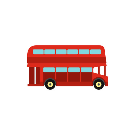 double decker bus: Double decker bus icon in flat style isolated on white background. Transport symbol vector illustration