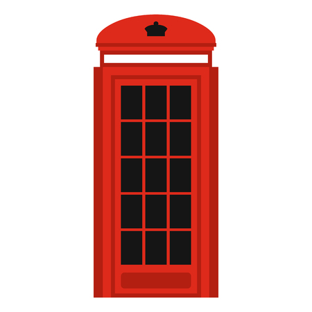 determinant: Phone booth icon in flat style isolated on white background. Call symbol vector illustration