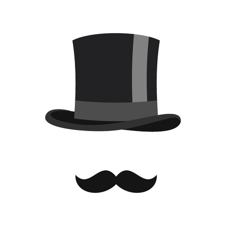 headgear: Cylinder and moustaches icon in flat style isolated on white background. Headgear symbol vector illustration