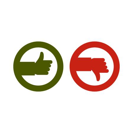Ondertekent hand op en neer pictogram in vlakke stijl geïsoleerd op een witte achtergrond. Klik en keuze symbool vectorillustratie