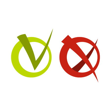 validation: Tick and cross in circles icon in flat style isolated on white background. Click and choice symbol vector illustration