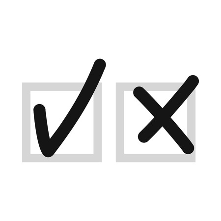 refusal: Checkmark to accept and refusal icon in flat style isolated on white background. Click and choice symbol vector illustration