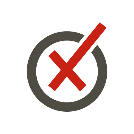 Cross in circle icon in flat style isolated on white background. Click and choice symbol vector illustration Illustration