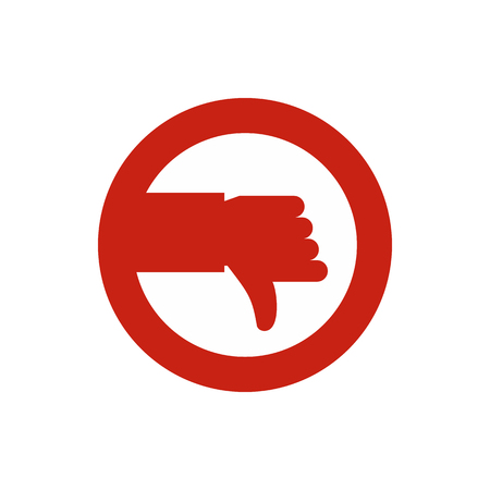 cancellation: Hand down in circle icon in flat style isolated on white background. Click and choice symbol vector illustration