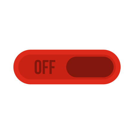 exclusion: Off button icon in flat style isolated on white background. Click and choice symbol vector illustration