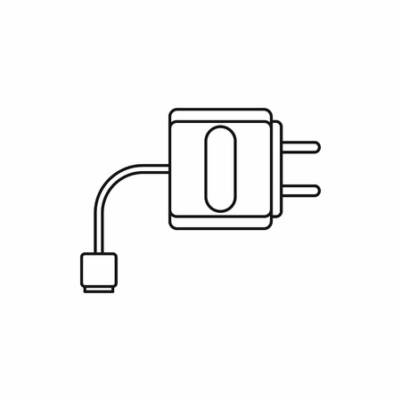 purported: Electronic cigarette USB cable charge icon in outline style isolated on white background vector illustration