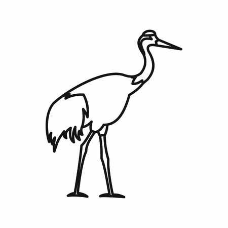 Japanese crane icon in outline style isolated on white background vector illustration Illustration