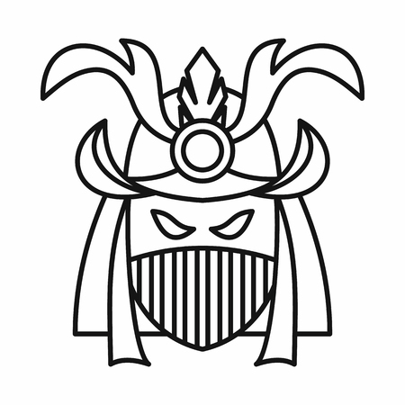 army face: Japanese samurai mask icon in outline style isolated on white background vector illustration