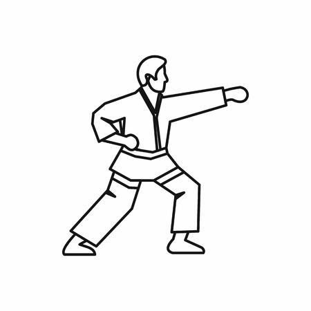 Karate fighter icon in outline style isolated on white background vector illustration