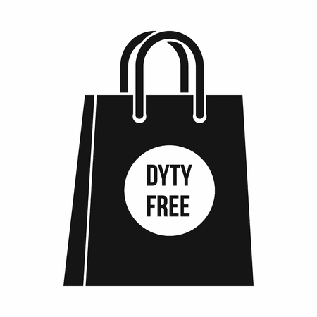 duty free: Duty free shopping bag icon in simple style isolated on white background vector illustration