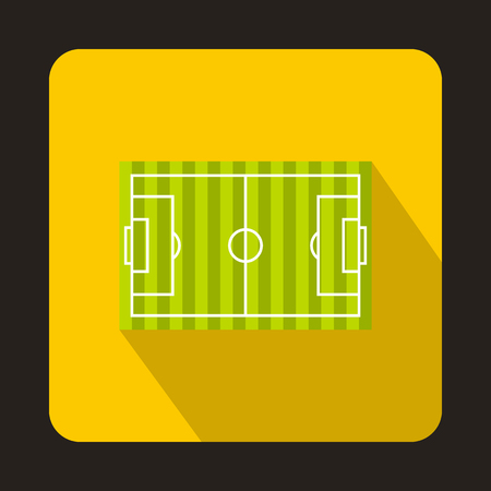 Football field icon in flat style with long shadow. Championship symbol vector illustration