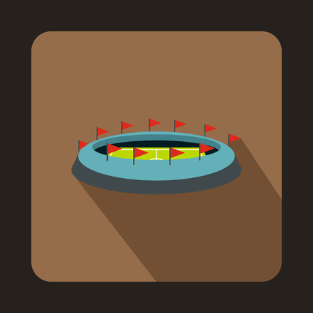 Football stadium icon in flat style with long shadow. Championship symbol vector illustration Illustration
