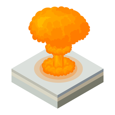 vector nuclear: Nuclear explosion icon in cartoon style on a white background vector illustration Illustration
