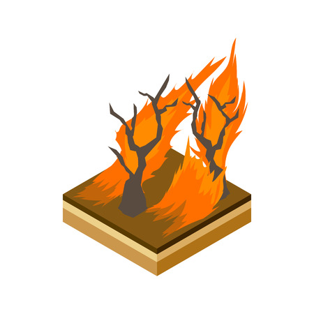 conflagration: Forest fire icon in cartoon style on a white background vector illustration