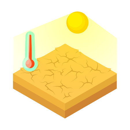 Drought icon in cartoon style on a white background vector illustration