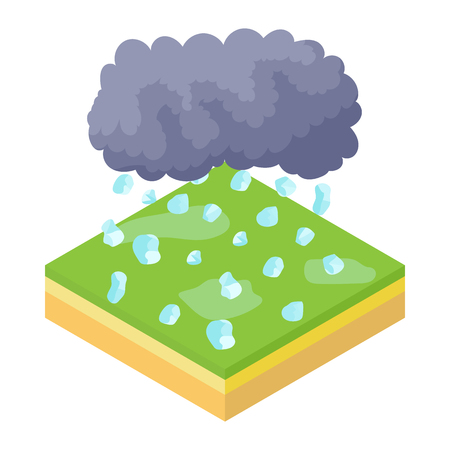 hail: Cloud and hail icon in cartoon style on a white background vector illustration Illustration