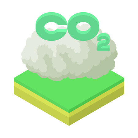 co2: CO2 sign in a cloud icon in cartoon style on a white background vector illustration