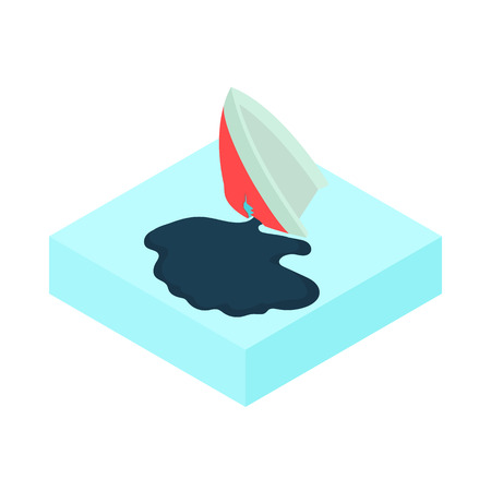 slick: Oil tanker accident with an oil slick icon in cartoon style on a white background vector illustration