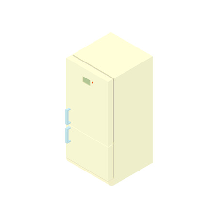 frig: White refrigerator icon in cartoon style on a white background vector illustration