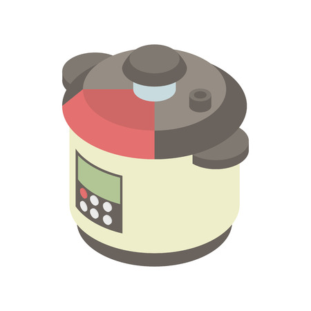 multi: Multi cooker icon in cartoon style on a white background vector illustration
