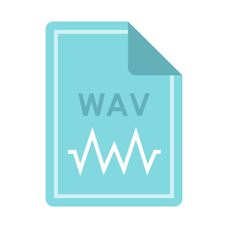 wav: File WAV icon in flat style isolated on white background. Document type symbol vector illustration