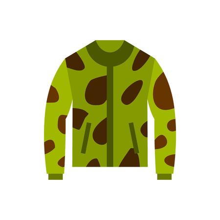 Camouflage jacket icon in flat style isolated on white background. Clothing symbol vector illustration