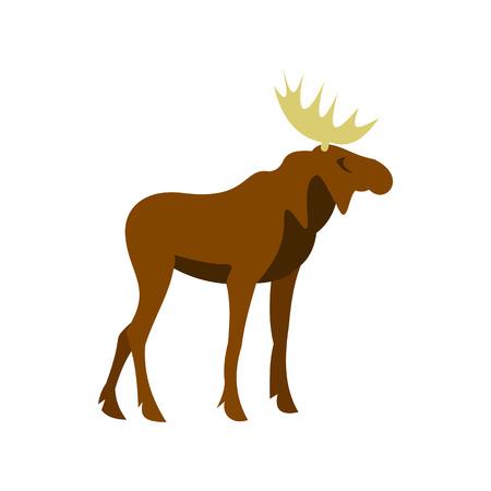 horny: Moose icon in flat style isolated on white background. Animal symbol vector illustration Illustration