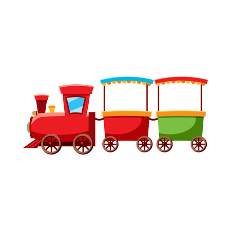 the locomotive isolated: Children locomotive icon in cartoon style isolated on white background. Attraction symbol vector illustration Illustration