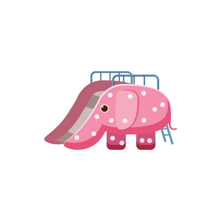 kiddies: Childrens slide elephant icon in cartoon style isolated on white background. Attraction symbol vector illustration Illustration