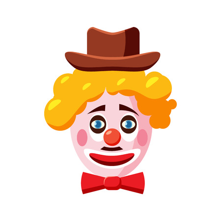 jest: Clown face with hat icon in cartoon style isolated on white background. Attraction symbol vector illustration Illustration
