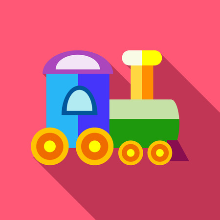 spells: Train icon in flat style with long shadow. Toy symbol vector illustration Illustration