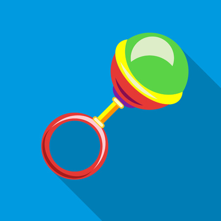 Rattle icon in flat style with long shadow. Toy symbol vector illustration
