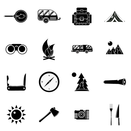 torchlight: Camping icons set in simple style. Outdoor elements set collection vector illustration