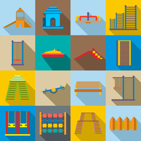 ladder  fence: Children playground icons set in flat style. Kids playground elements set collection vector illustration