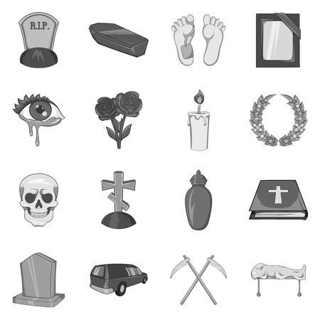 corpse flower: Funeral icons set in black monochrome style. Death and burial set collection vector illustration