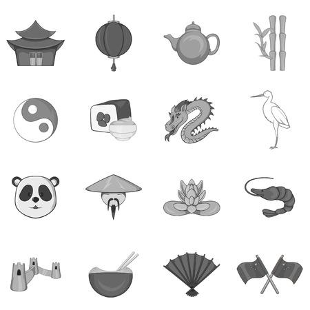 simbols: China icons set in black monochrome style. China simbols set collection vector illustration