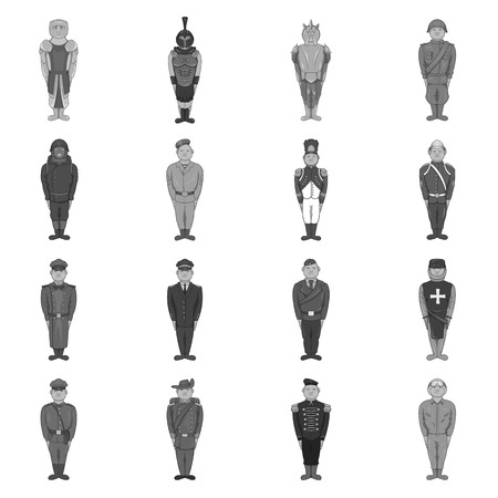 cockade: Military army soldiers uniform icons set in black monochrome style. Soldiers in armor set collection vector illustration Illustration