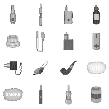 coil: Vape icons set in black monochrome style. Electronic cigarette and accessories set collection vector illustration