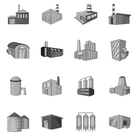 Factory, plant icons set in black monochrome style. Industrial buildings set collection vector illustration Иллюстрация