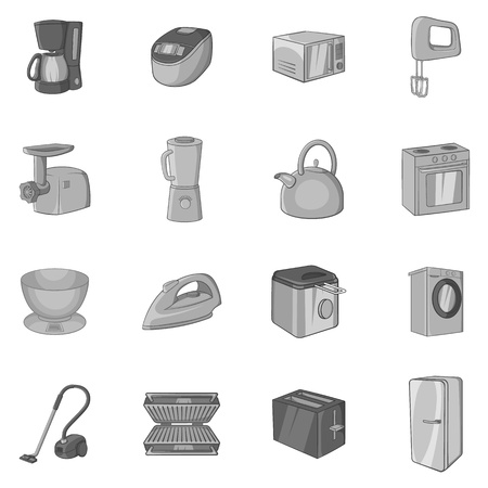consumer electronics: Household appliance icons set in black monochrome style. Consumer electronics set collection vector illustration