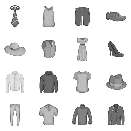 leather skirt: Clothe icons set in black monochrome style. Elegance clothing set collection vector illustration Illustration