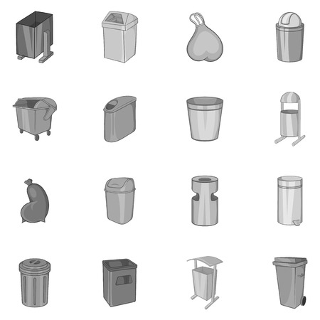 garbage collection: Trash can and recycle bin icons set in black monochrome style. Garbage set collection vector illustration Illustration