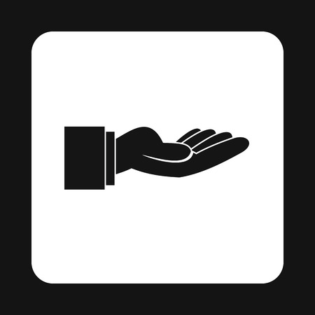 outstretched hand: Outstretched hand gesture icon in simple style on a white background vector illustration