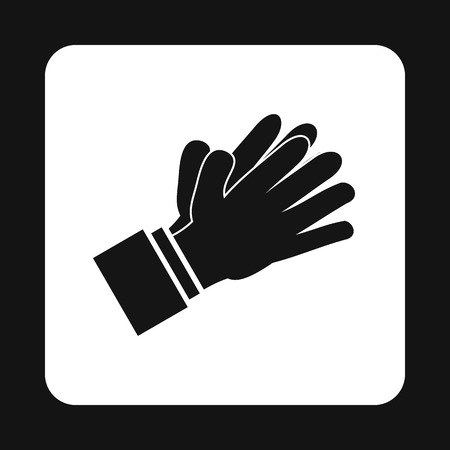applauding: Clapping applauding hands icon in simple style on a white background vector illustration Illustration