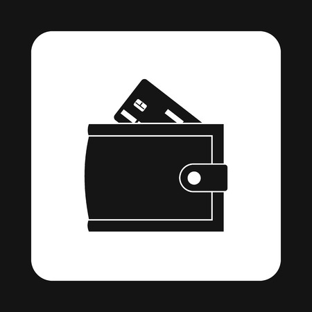 Wallet with credit card icon in simple style on a white background vector illustration