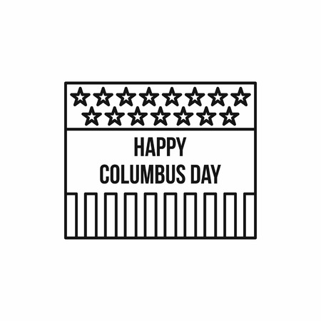 colombo: Columbus Day USA in outline style isolated on white background vector illustration