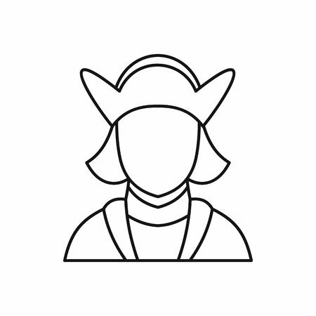 descubridor: Christopher Columbus - explorador y descubridor de América en estilo de contorno aislado en el fondo blanco ilustración vectorial Vectores