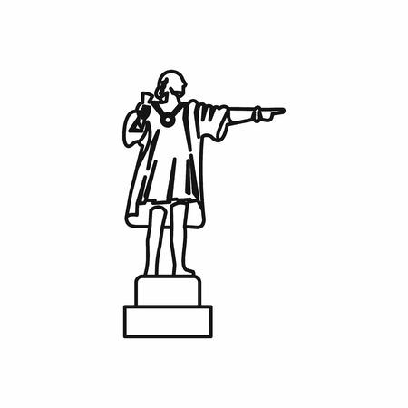 Scultura di Cristoforo Colombo in stile contorno isolato su sfondo bianco illustrazione vettoriale Archivio Fotografico - 62319892